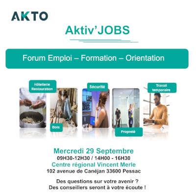 Aktiv'Jobs, un forum organisé par AKTO au Centre régional Vincent Merle le 29 septembre