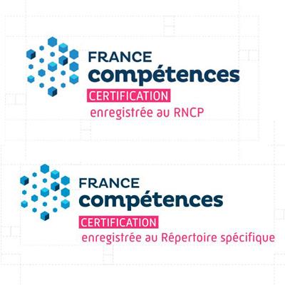Deux logos pour garantir l'inscription aux répertoires nationaux des certifications
