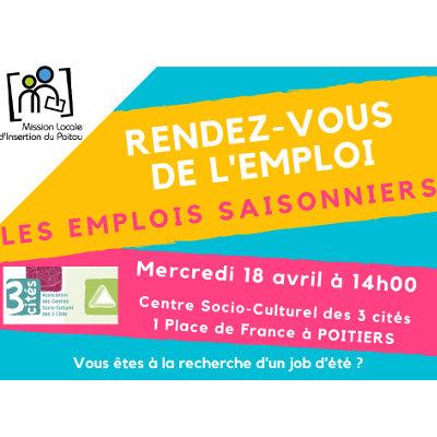 Un « Rendez-Vous de l'Emploi » sur les emplois saisonniers à Poitiers