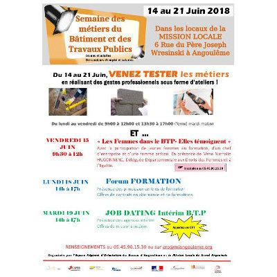 Semaine de promotion des métiers du Bâtiment et des Travaux Publics à Angoulême