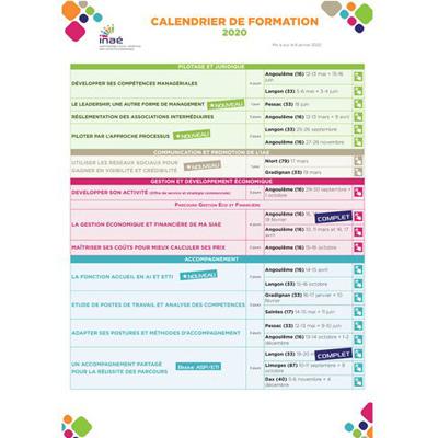 INAÉ a publié son calendrier 2020 des formations destinées aux SIAE