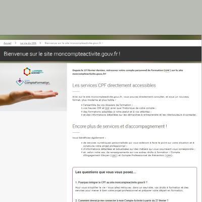Le CPF intègre le site moncompteactivite.gouv.fr
