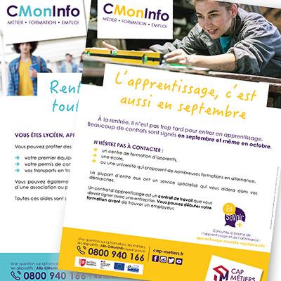 Les affiches « CMonInfo » de Cap Métiers